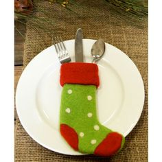 Red/Green Felt Stocking used to hold the cutlery at your placesetting.