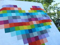 giant pixelated heart quilt
