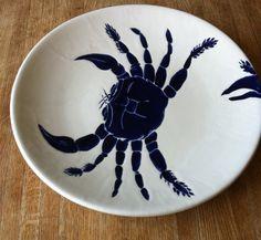 Large Navy Blue ceramic Crab platter by jessicahoward