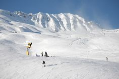 Ski slope with avalanche cannon. Putting aside avalanche risk, it looks like a gorgeous place to ski.