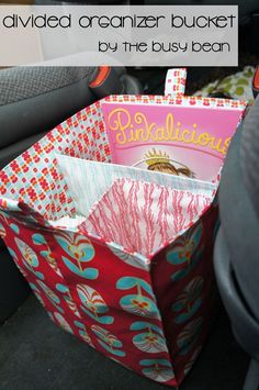 Fat Quarter Gang Tutorial - Divided Organizer Bucket by The Busy Bean fabric bucket tutorial, organ bucket, buckets, busi bean, car organizer bin, divid organ, fabric bin tutorial, free car organizer pattern, divid bucketpng