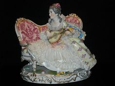 Antique Ludwigsburg German Dresden Lace Porcelain Volkstedt Lady Queen Figurine | eBay