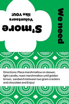 prints on 4x6 photo paper. Include: Marshmallow, Hersey bar, gram cracker, tea light, & skewer
