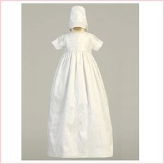Silk Heirloom Christening Gown and Bonnet | Unisex Christening Gown Boy or Girl | Silk Baptismal Gown