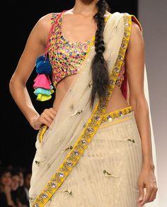 Net Sari and Choli with Mirror Work