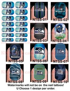Nail Tattoo Decals - Seattle Seahawks