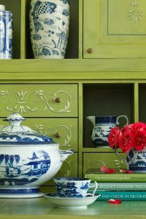 color combos, ginger jars, candy apples, green kitchen, white