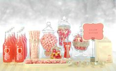 party candy table ideas | Spring Wedding Idea: Pink Candy Buffet Table | The Gunny Sack