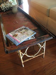 Salvaged vintage Ford tailgate as a coffee table!