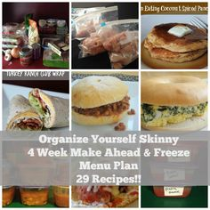 Organize Yourself Skinny Make Ahead and Freeze Menu Plan. 29 Healthy Family Friendly Freezer Cooking Recipes.