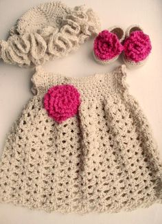 Newborn Baby Girl Dress in Cotton Shoes/Booties and by XeniaHome, $38.00