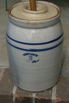 Vintage Marshall Pottery stoneware butter churn crock
