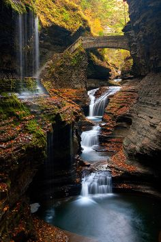 Rainbow Falls in Watkins Glen State Park, Ithaca NY by Bippity11