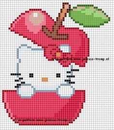 Hello Kitty Apple Hama Perler Bead Pattern