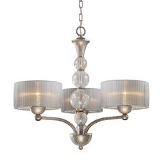 Love this sIlver drum shade chandelier @Better Living Store #lighting #chandelier