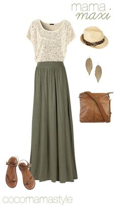 Army green maxi skirt outfit, great summer look