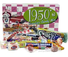 Black Taffy, NECCO Assorted Wafers, Sugar Daddy, Atomic Fireball, Root Beer Barrels, Chuckles, Licorice Stick, Bit O' Honey, Tootsie Roll, Lifesavers, Smarties, Candy Necklace, Nik-L-Nip Wax Bottles, Candy Buttons, Smarties Pop & Tootsie Roll Pop!
