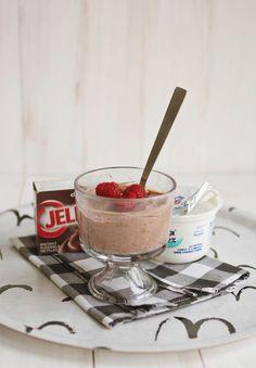chocolate pudding + greek yogurt combo