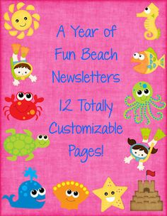 Fun Beach Themed Classroom Newsletters$