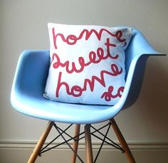 Home, Sweet Home Cushion. $50.00, via Etsy.    http://www.etsy.com/listing/62480606/home-sweet-home-cushion#