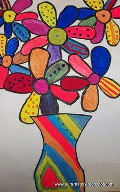 Romero Brito art open, art idea, colors, heart art, elementari art, flower vases, romero britto, flowers, art projects