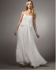 Now this is a wedding dress I wouldn't mind wearing over and over again. The white pleated chiffon is completely unembellished, making it easy to wear all sorts of occasions, from music festivals to museum openings.