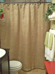 Burlap Shower Curtain  Red Stripe Trim  by SimplyFrenchMarket, $78.00