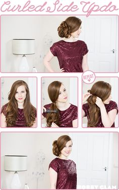 Curled side updo hair tutorial