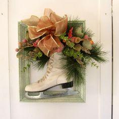 craftart idea, ice skate, christma door, christmas holidays, christma decor, craft idea, christma holiday, front doors, wreath