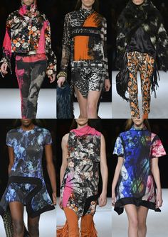Just Cavalli A/W 2014/15-Overprinted Collage Prints – Neon Brush Marks – Coloured Photocopies – Deconstructed Animal Skins – Bold Brush Mark Strokes – Monochromatic Colour – Photographic Prints – Rich Floral Bouquets – distressed and abstracted Areas