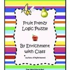 FREE! Fruit Frenzy Logic Puzzle! For early grades (K-2)... promotes higher level critical thinking.  The work is done for you! 7 pages include clipart to manipulate, 2 solving strategies, & answer key. Great products for Gifted, enrichment, advanced learners, fast finishers, & differentiation. Want to learn more about a unique enrichment program that serves your whole school, not just the Gifted? New BLOG:  http://challengelabenrichment.blogspot.com/