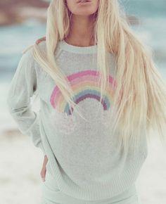 beauty women, sweaters, pastels, fashion, wildfox sweater, style, color, rainbow sweater, rainbows