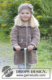 """Crochet DROPS coat and hat with decorative edges in """"DROPS ♥ YOU #4"""" or """"Nepal"""". Size 3 - 12 years. ~ DROPS Design"""