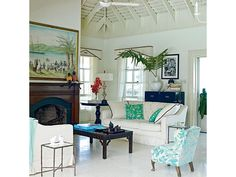 Midcentury Style Beachy Living Room - Home and Garden Design Ideas