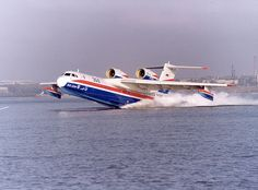 This sea plane can carry up to 74 passengers. No need for an airport as such. Could it fly from the Liffey to the Thames?