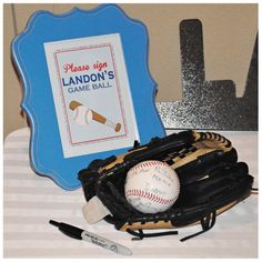 Great idea for birthday party - have guests sign baseball for birthday boy