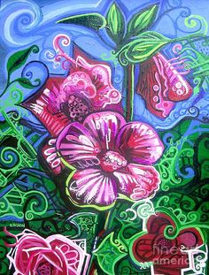 Image detail for -Magenta Fluer Symphonic Zoo II Painting by Genevieve Esson - Magenta ...