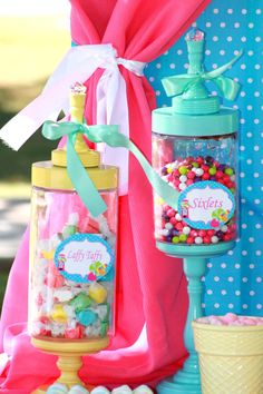 Cute candy jars-   BUBBLE GUM Food labels -  Candyland - Lollipop - Sweet Shop -Sweet shoppe - Girls Birthday Party - Candy Land -  Krown Kreations.