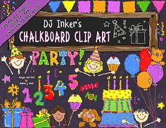 Download our NEW 'Chalkboard Party' today & start celebrating your smiles!  Don't forget to use the 'buy together' button to save $1 on the coordinating 'DJ Chalk' font!  :)