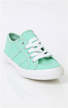 Deb Shops #mint lace up canvas slip on #sneaker