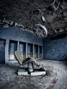 . urban decay, chairs, ruin, dentists, interior architecture, places, abandoned houses, photography, hospitals