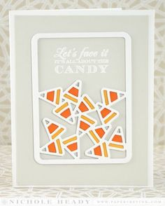 handmade Halloween card: All About the Candy Card by Nichole Heady for Papertrey Ink  ... mod look ... funstatemet ... gray and white with oranges ... corn candy die cut ... luv it!