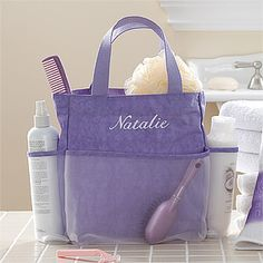 Lavendar Spa© Embroidered Shower Caddy embroidered with any name in white thread. $22.45