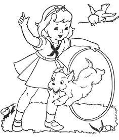 little girl with dog books, color, redwork, paints, printabl, kid, embroideri