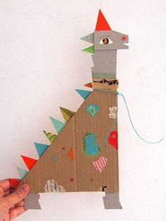 paper dragon friend - idea for mix media collage project