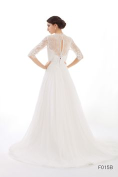 Lace wedding dress, bridal dress with Chantilly lace sleeves--LIESEL | WANLU BRIDAL