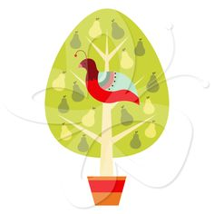 Partridge in a Pear Tree - Cute Christmas Clip Art Clipart by Creative Clip Art Collection.