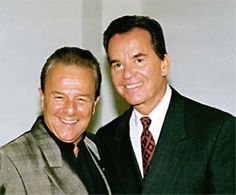 """Charlie and Dick Clark at the 40th anniversary of """"American Bandstand"""", 1997."""