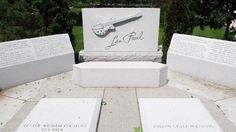Grave Marker- Les Paul, American musician and inventor. On August 21, 2009, he was buried near Milwaukee in Waukesha, Wisconsin at Prairie Home Cemetery. Paul is buried next to his mother. The two are surrounded with a brief biography of Les. (More go to: http://www.thefuneralsource.org/deathiversary/august/12.html)