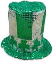 Private Island Party  - Shamrock White and Green Sequin Top Hat 5888, $15.99     Make sure you stay classy this St. Patrick's day with our shamrock top hat. This shamrock top hat is both festive and cool, and is sure to add some class to your holiday outfit. Get your today.
